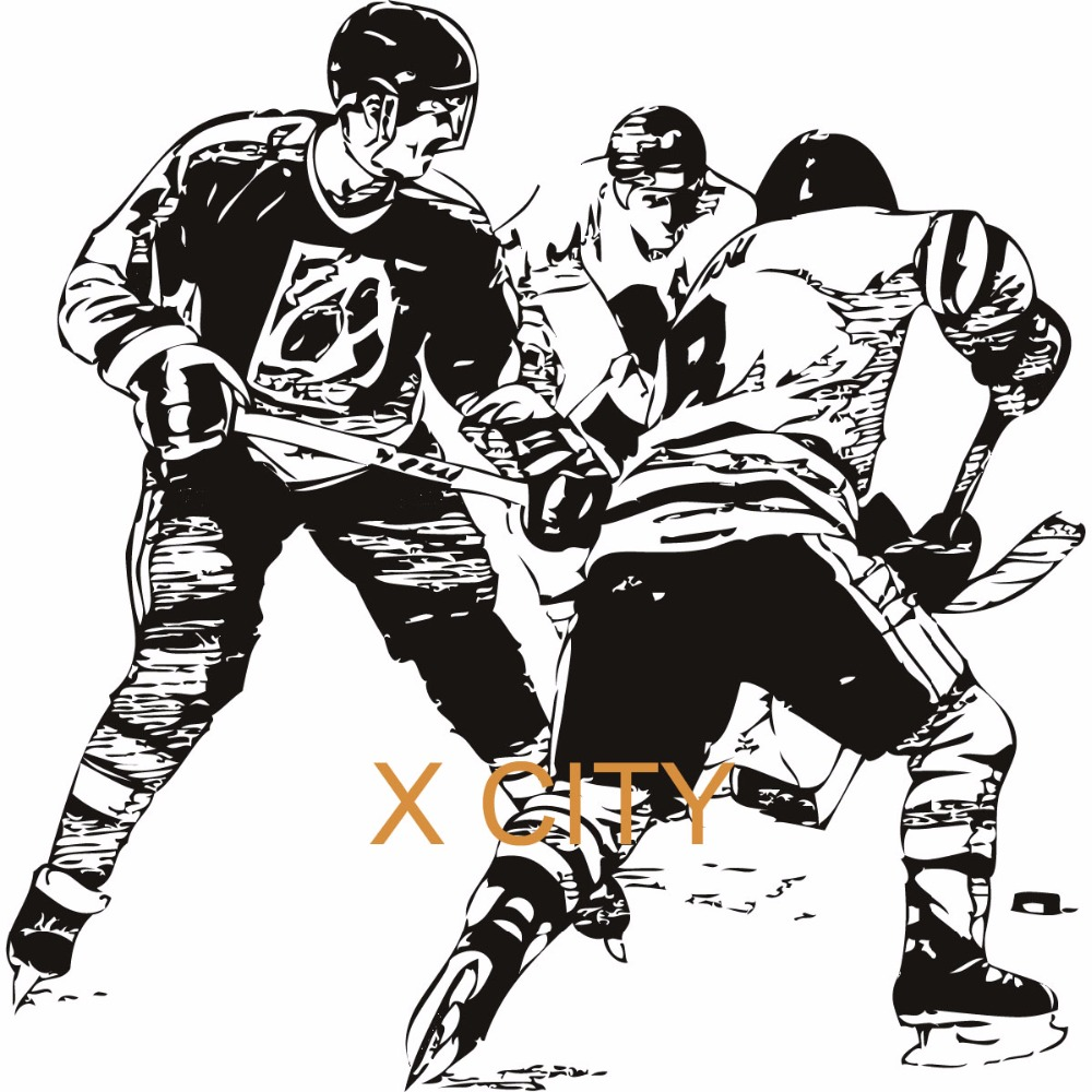 Ice Hockey Players Sport Wall Art Decal Sticker Removable Vinyl Cut Transfer Stencil Mural Home Room Window Door Decor S M L XL(China (Mainland))