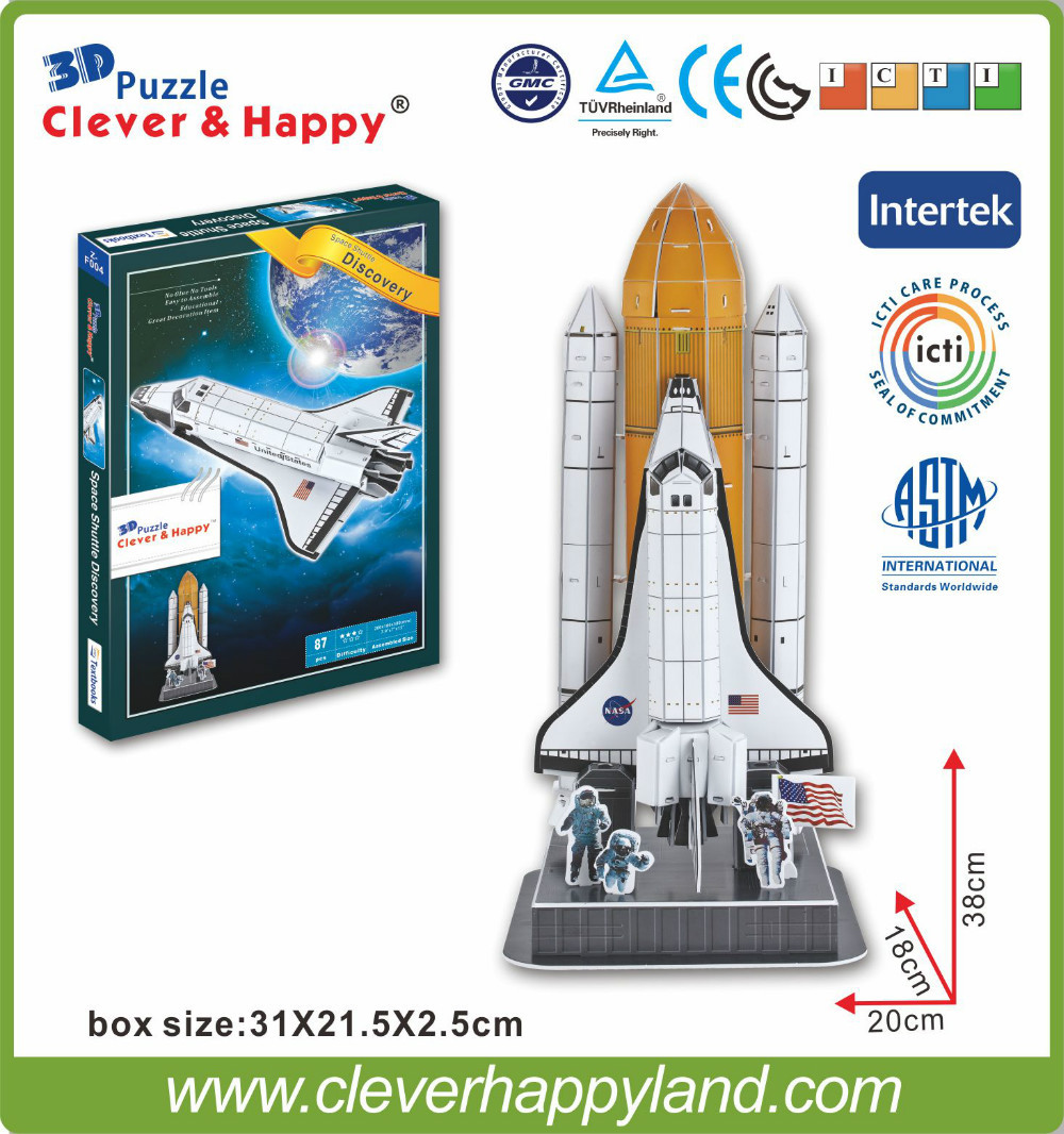 2013 new clever&amp;happy land  3d puzzle model  Space Shuttle Discovery  adult puzzle diy model aircraft for boy paper<br><br>Aliexpress