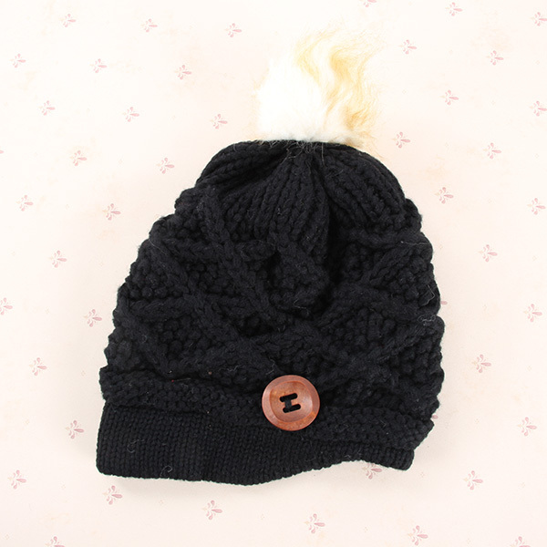 Best Price Women Knitted Ski Beanie Hats Caps Fur Ball Buttons Knitting Hats 4 Colors(China (Mainland))
