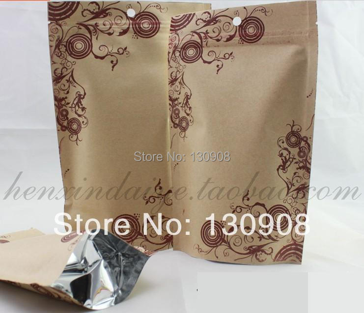 size 12*20+4CM Free Shipping pet dog ziplock Stand up kraft food bags,brown kraft paper aluminum foil ziplock bag(China (Mainland))