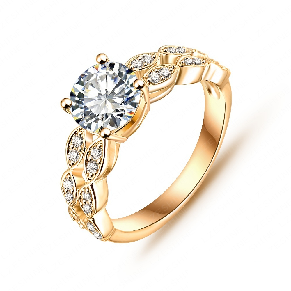 2015 Spring Bride Ring Real 18K Gold/Platinum Plated Micro Pave Clear AAA Cubic Zirconia Desirable Ring Gift CRI0007(China (Mainland))