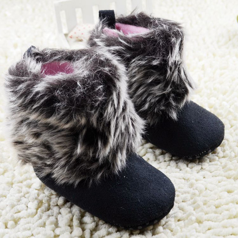 Winter Baby Boots Black Suede Flock Snow Boots Bebe Shoes for Girls& Boys Size 11 12 13cm For 0-18Month Baby Shoes(China (Mainland))