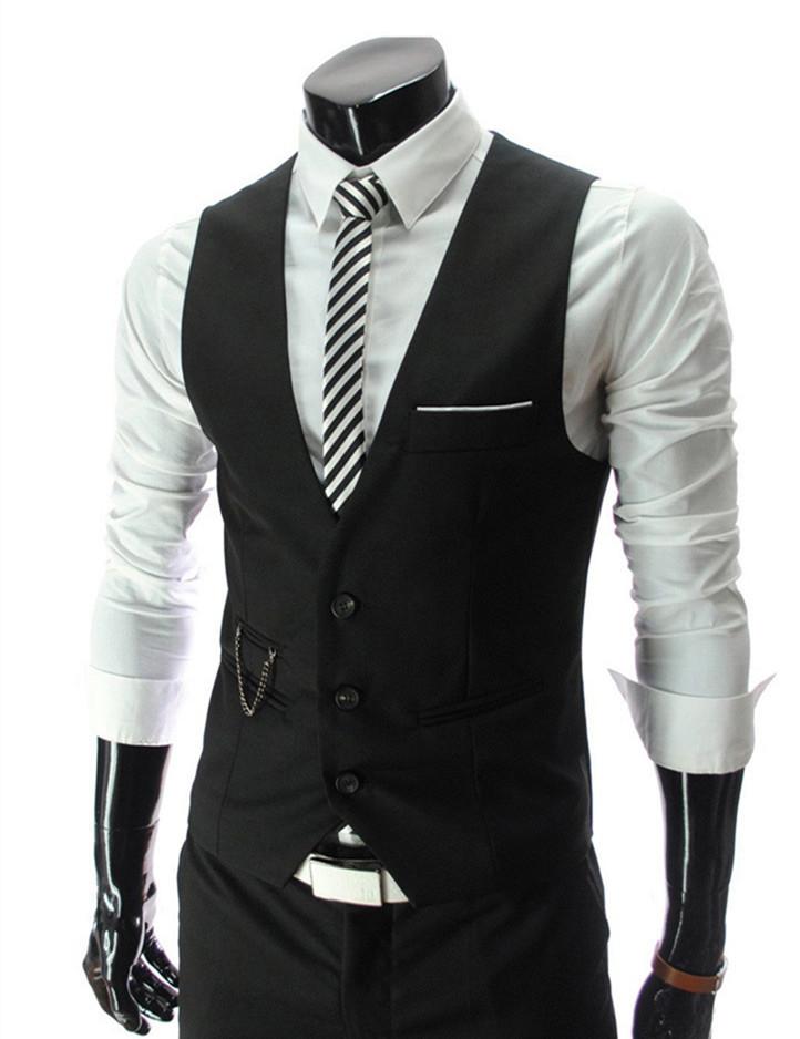 Fashion Men Cotton Suit Vest Dress Waistcoat Casual gilet de costume Male Slim Fit Formal Business Jacket Waist Coat for Men(China (Mainland))