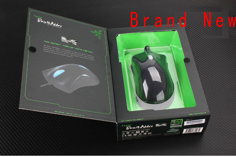 100% Brand NEW Razer Deathadder mouse 3500dpi Gaming Mouse For CS LOL WOW Dota2 Without Retail packing shipping by Singpost(China (Mainland))