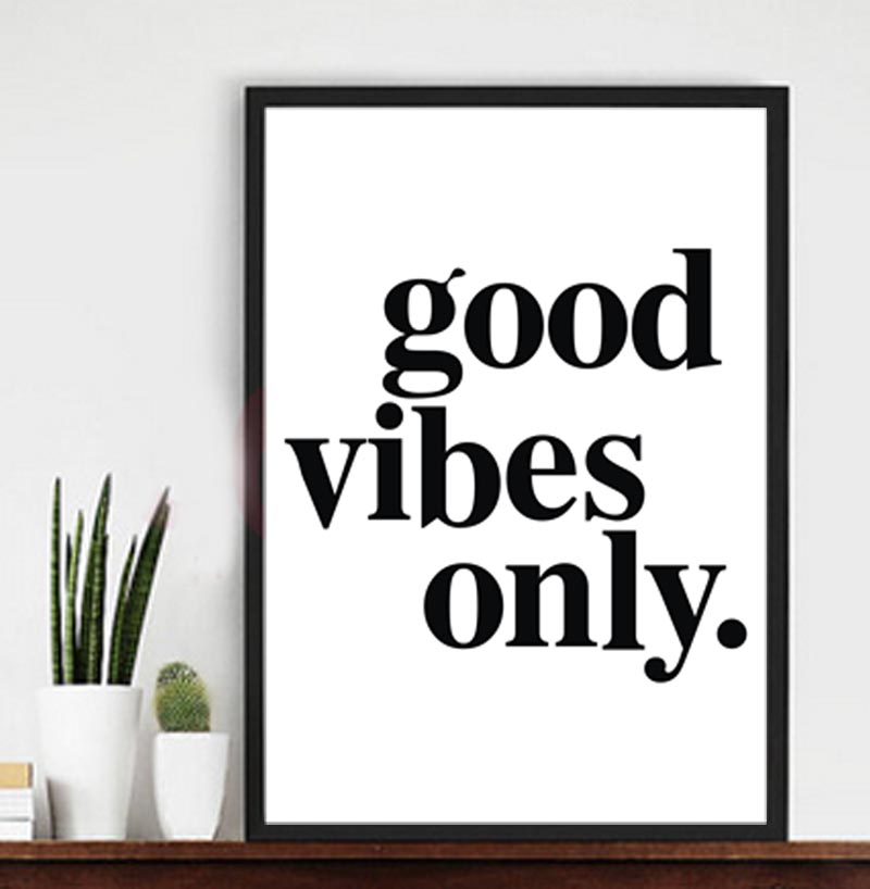 good vibes only Canvas Print wall Poster pictures for home and office
