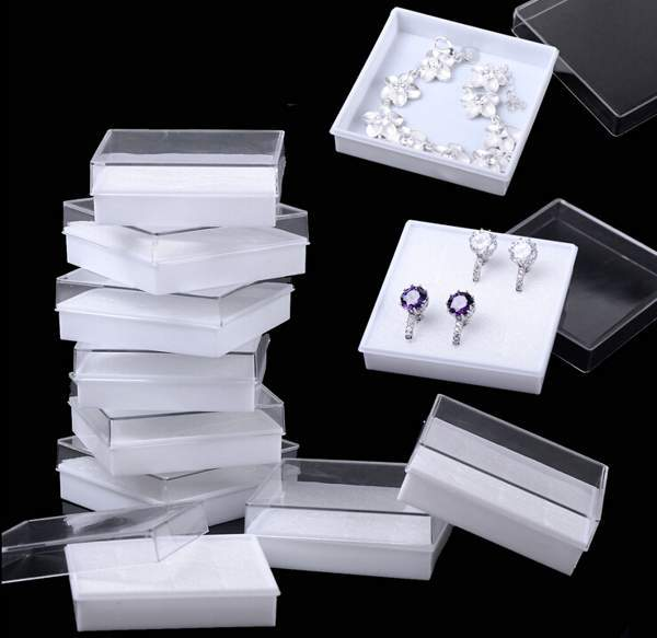 Fashion Wholesale 5PCS Jewellery Gift Boxes White Pads Clear Plastic Earrings Bracelet Necklace(China (Mainland))