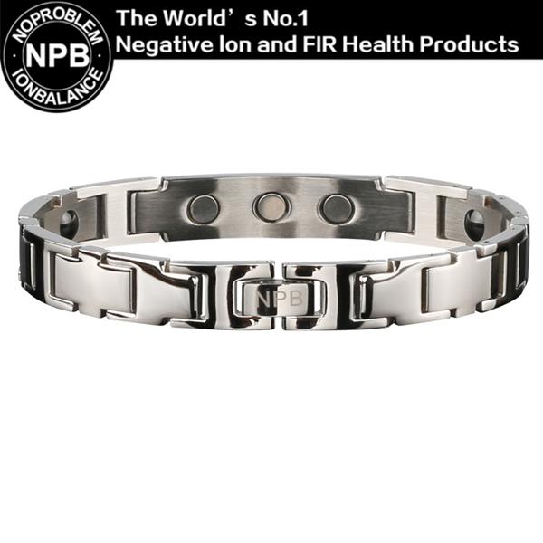 Noproblem P044 negative ion titanium Ion jewelry antifatigue metal magnetic infinity silver man stainless steel  bracelet