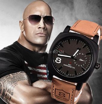 Лучшие продажи мужчины спортивные военные часы кожаный друг! мода кварцевые наручные часы свободного покроя круглый циферблат оптовая продажа Relogioes