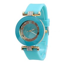New Candy Color Silicone Wristwatch Fashion Crystal Stone Watches Quartz Watch