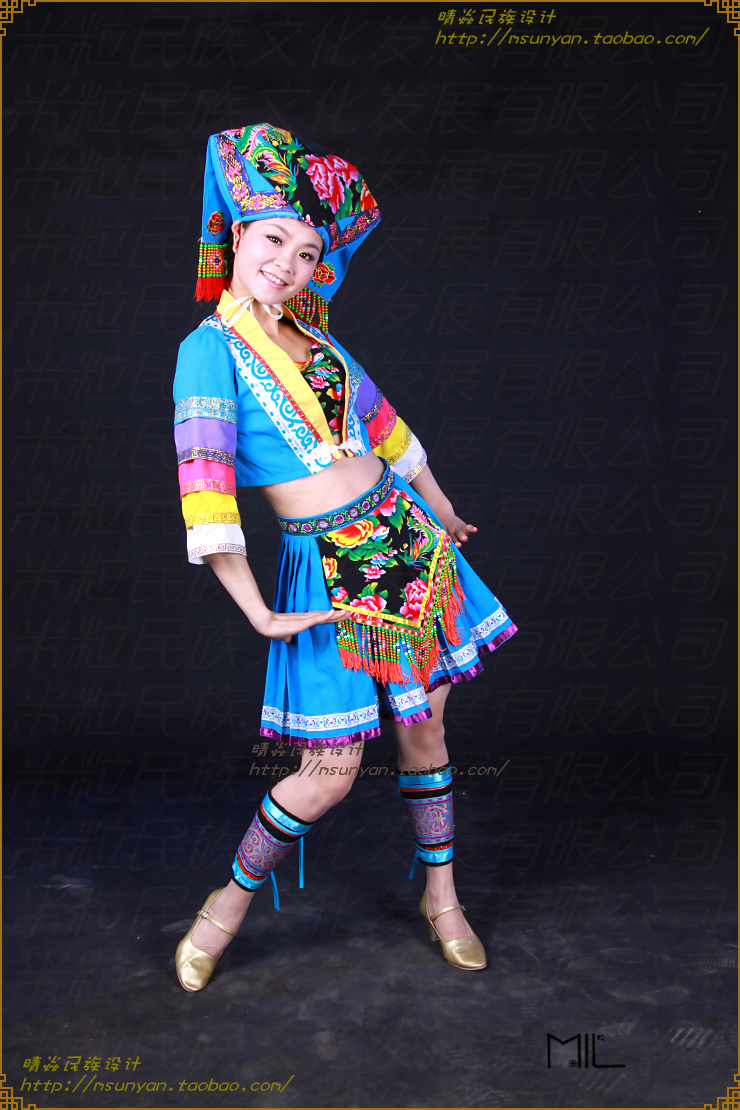 Chinese Folk Dance costumes Zhuang dance clothes costume women's Hmong clothe - style store