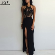 Buy New Fashion Summer Hollow Slim Dress Lace Halter Backless Long Maxi Dress Side Slit High Waist Party Dress Vestido Plus Size U2 for $11.14 in AliExpress store