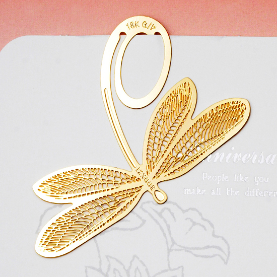 Korea 18k gold plated dragonfly bookmarks wholesale metal bookmarks for promotion gifts and wedding favors(China (Mainland))