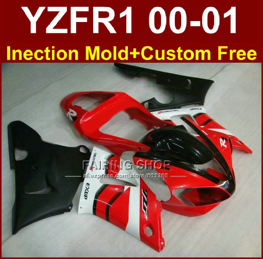 Customize EXUP bodyworks for YAMAHA fairings YZFR1 2000 2001 yzf 1000 YZF R1 00 01 ABS plastic red black body parts+7gifts(China (Mainland))