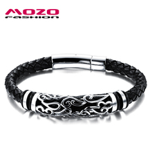 Buy MOZO FASHION Hot Brand Jewelry Men Leather Bracelet Male Vintage Bangles Stainless Steel Exquisite Snaps Mens Bracelet MPH901 for $7.68 in AliExpress store