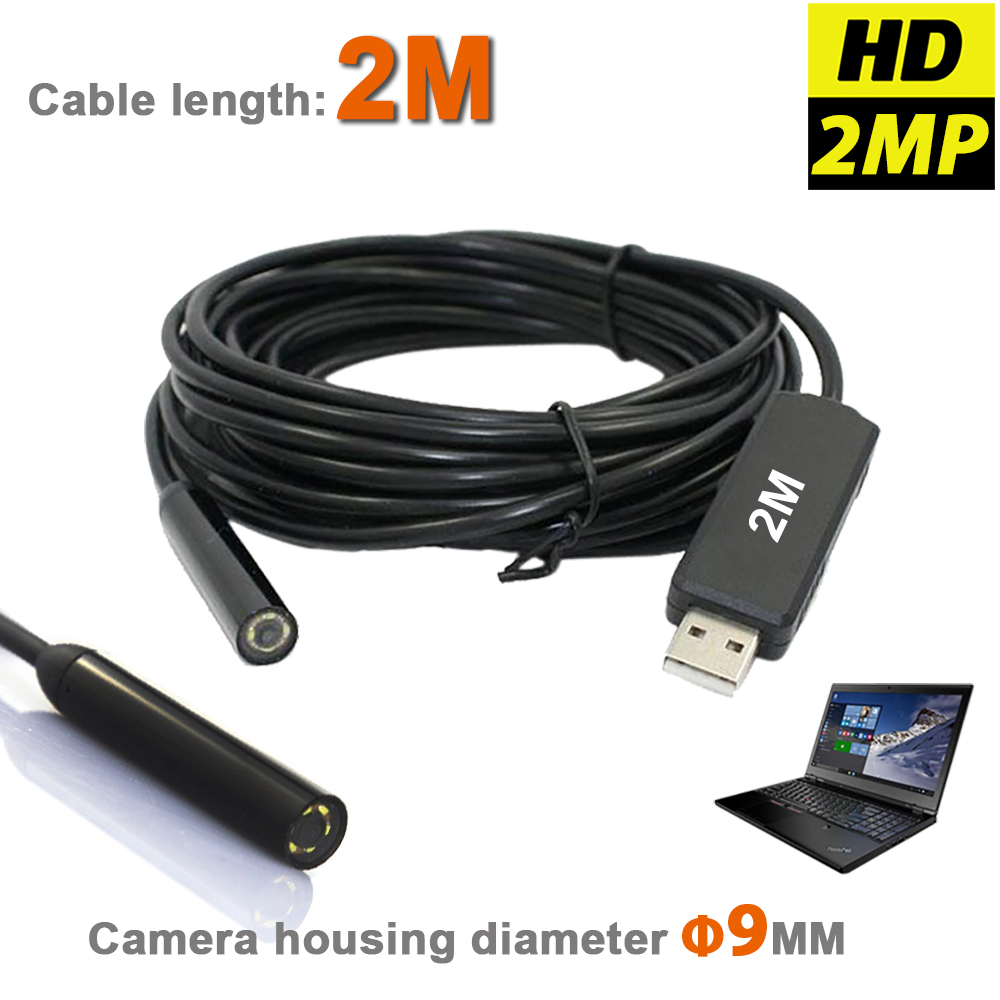 High Resolution Waterproof USB Endscope MINI Camera 2MP 9mm Borescope Snake Inspection Tube Pipe Video Camera With 2M Cable(China (Mainland))