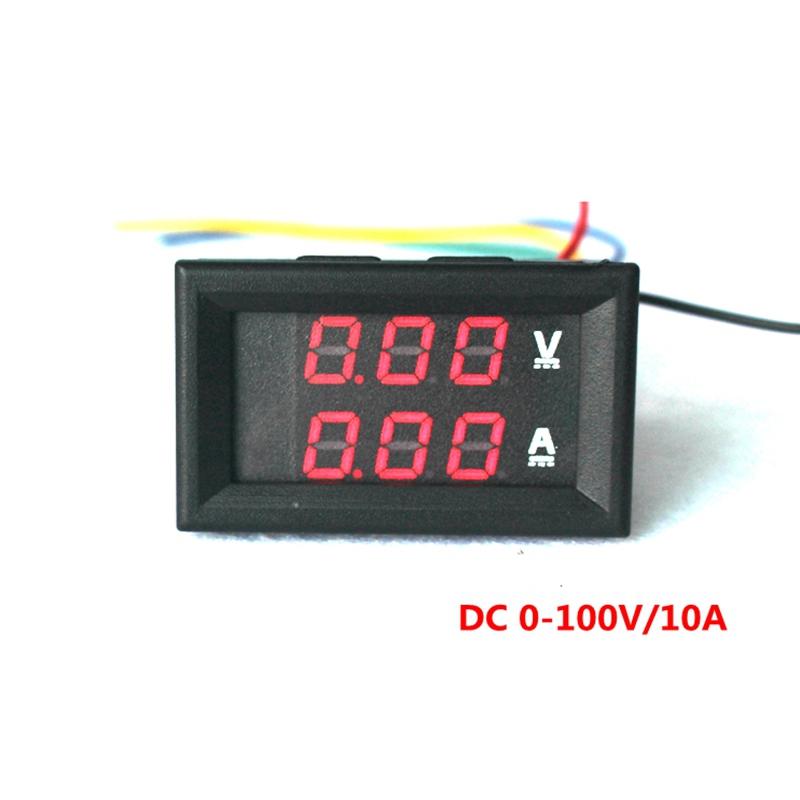 Red DC 0-100V/10A Ammeter Voltmeter Gauge Amperemeter Volt Meter Car LED Tester Digital Current Voltage Monitor
