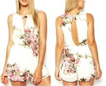 Macacao Feminino 2015 New Women Flower Printed Rompers Summer Shorts Jumpsuits Open Back Female Sexy Chiffon Overalls Playsuit