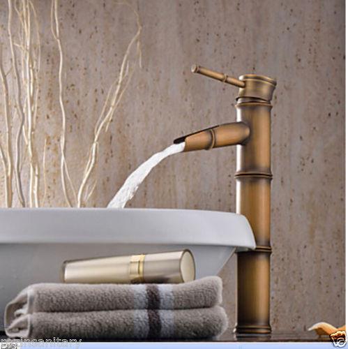 Купить Оптовая и Розничная Античная Латунь Bamboo Форма Ванной Бассейна Кран Палуба Крепление Водопад Бассейне Сосуд Раковина Кран