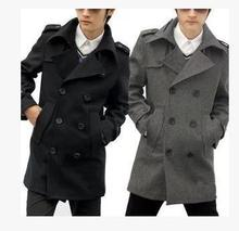 Black grey double breasted high quality man warm winter wool peacoat men's long cashmere knitted coat trench down & parkas 2016(China (Mainland))