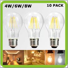 Top quality manufacturer 4W or 6W or 8W LED glass bulb filament bulb bombilla LED filamento a60 led retro edision bulb E27