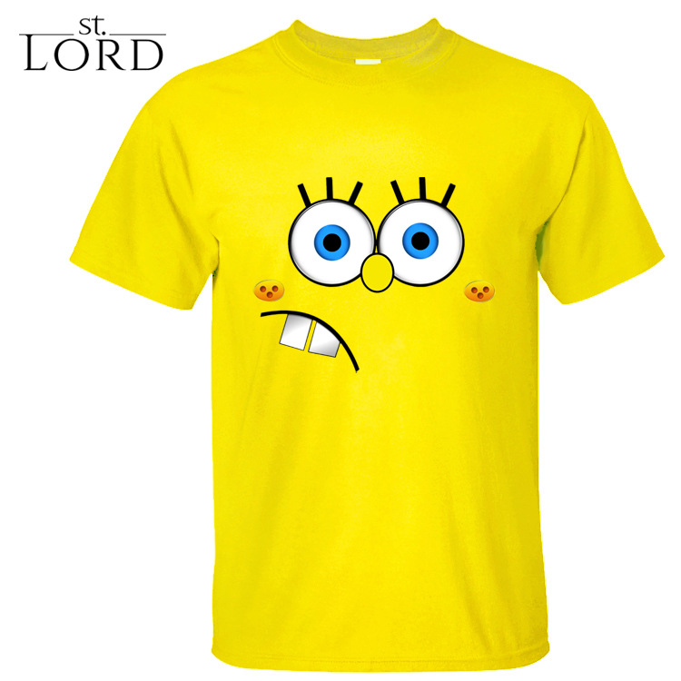 American popular animation SpongeBob SquarePants cartoon adorable face SpongeBob cotton Crewneck T-shirt(China (Mainland))