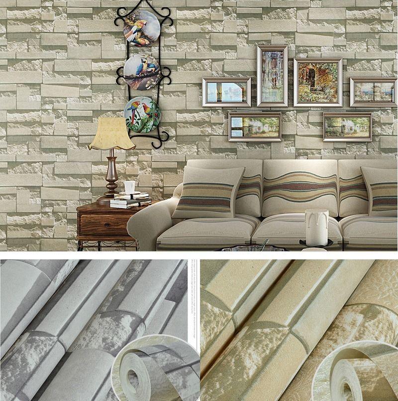 Modern textured brick stone pattern wallpaper rolls sheets for Stone wallpaper for living room