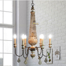 6-light Vintage French Country Parisian Wood bead Chandelier - New Guaranteed 100%+Free shipping !(China (Mainland))