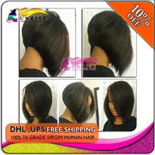 wholesale price virgin hair bob wig natural color ,  300% density human hair  bob wigs front lace  for black women(China (Mainland))