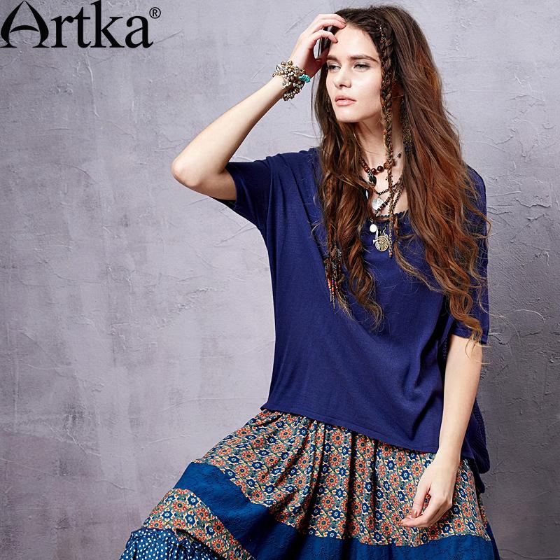 Artka Women's Summer Vintage Solid Knitted Pullover O-neck Short Sleeve Perforated Design Irregular Hem Blouse YB14152C(China (Mainland))