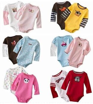 5pcs/lot baby romper long sleeve cotton rompers infants wear clothing  ZZ0198