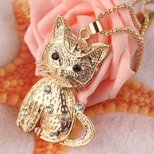 2014 Free Shipping New14k Gold Filled Vogue Women Party Gift White Austrian Crystal Cat Pendant Dress