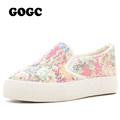 GOGC 2016 Floral Canvas Shoes for Women Comfortable Women s Shoes Lace Female Summer ShoesFootwear Soft