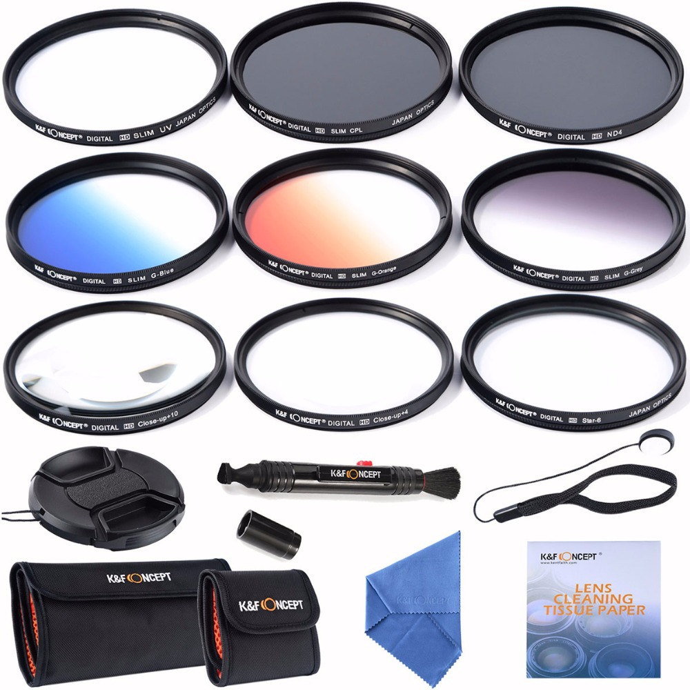 72mm slim UV CPL ND4+ Slim Blue Orange Grey Graduated colour +Macro Close Up +4 +10 +6 Point Star Lens Filter for camera lens(China (Mainland))