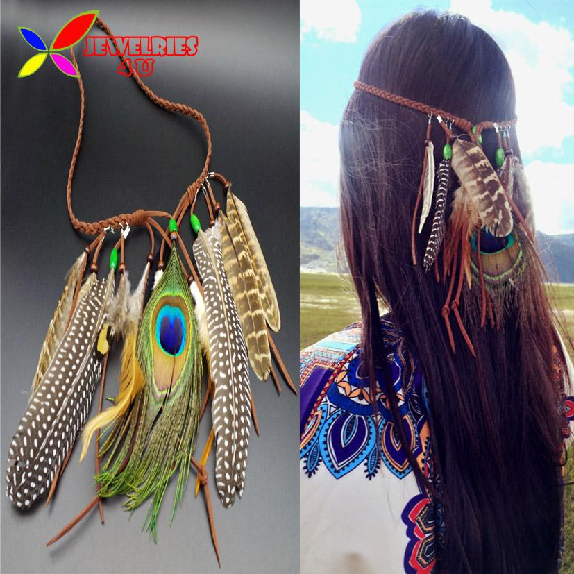 2016 Fashion Beautiful Peacock Feather Fringes Braided Leather Headbands Women Hair Accessories Jewelry bandas para la cabeza(China (Mainland))
