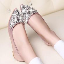 Rhinestone pointed toe flat heel shoes single shoes women fashion women flat shoes *35(China (Mainland))