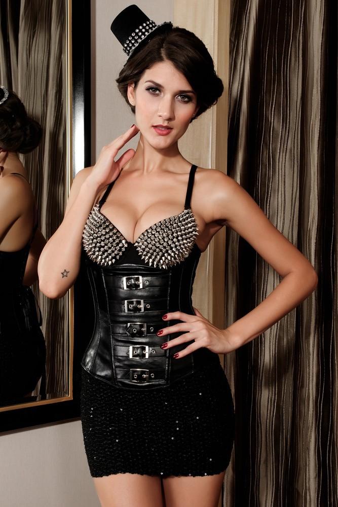 Women Shapewear Slimming Underwear Shapers Waist Cincher Black Red Gothic Leather Under Bust LC5267 Slimming belt