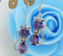 2016 Popular Silver Purple Cat Shape CZ Diamond Zircon Wonderful Women Drop Earrings Bijoux Jewelry Brincos Pendientes Mujer(China (Mainland))