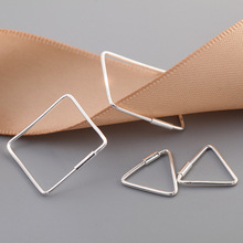 925 Sterling Silver Triangle Sq. Stud Earrings For Girls Vogue Girl Sterling-silver-jewelry Pendientes Mujer Moda