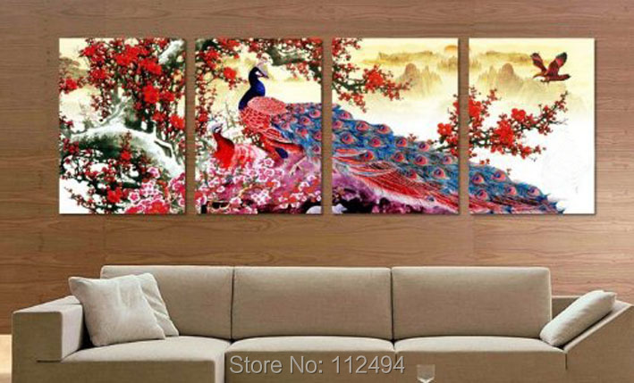 100% Hand-painted wall art landscape peacock Oil Painting canvas 4pcs/set mixorder framed 40x60cmx4 D/620 - YES oil painting store