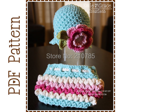 Free shipping Crochet Flower Hat and Ruffle Diaper Cover ...
