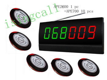 wireless calling system,for shop,bank.wireless waiter paging system.10 pcs of service buzzer, 1 pc signal receiver of APE2600