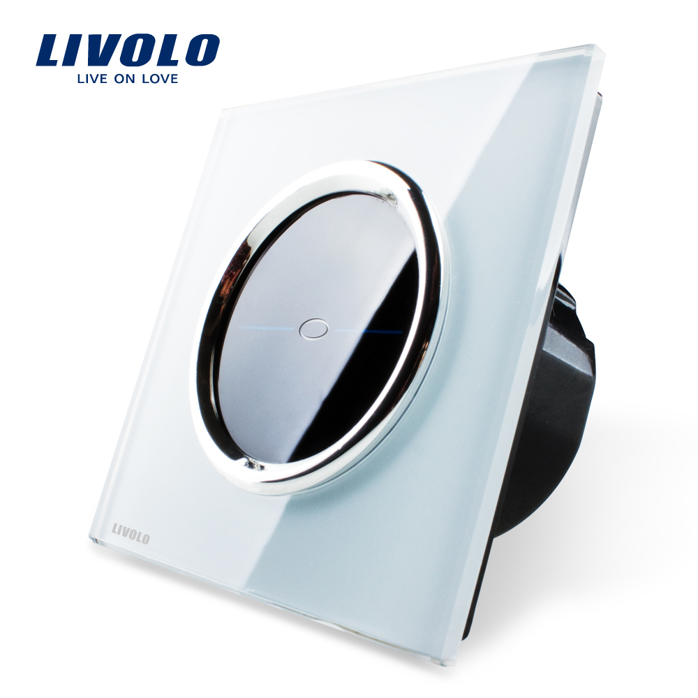 Free Shipping, Livolo EU Standard, VL-C701-CR1,White Crystal Glass Panel, 110~250V Wall Light Touch Screen Switch+LED Indicator(China (Mainland))