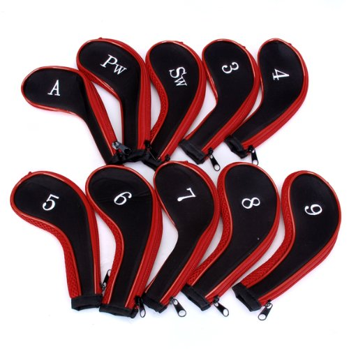 Good deal MECO(TM) 10 Golf Clubs Iron Set Headcovers Head Cover(China (Mainland))