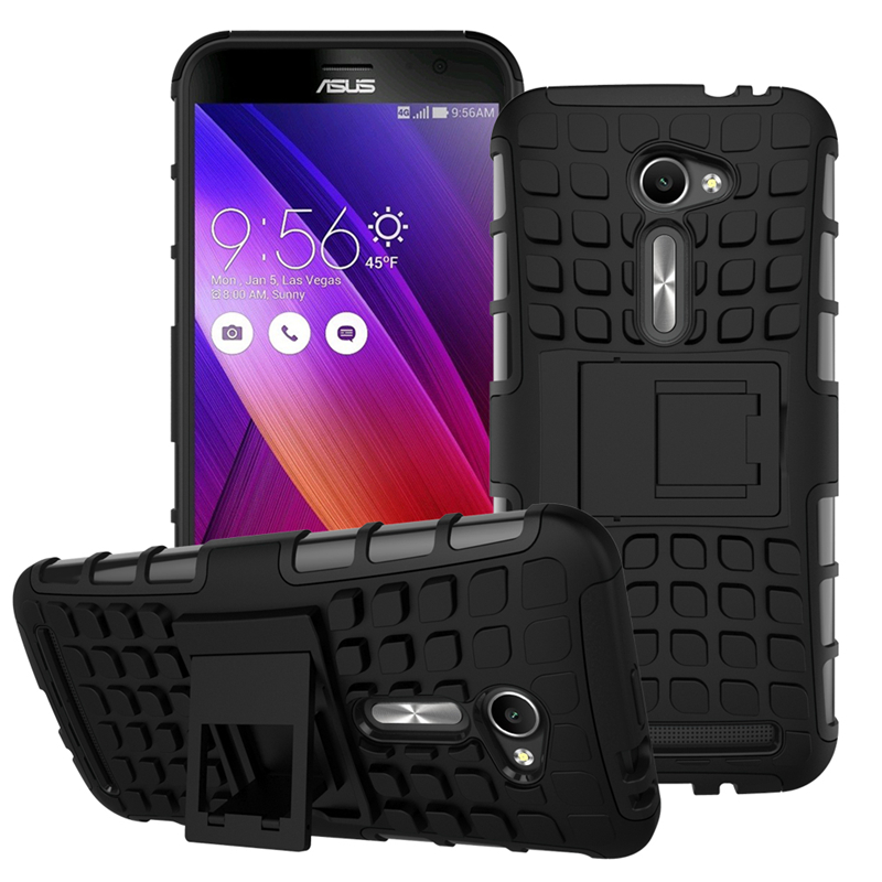 Luxury Silicon Plastic Heavy Duty Armor Case For Asus Zenfone 2 ZE500CL Stand Phone Back Cover(China (Mainland))