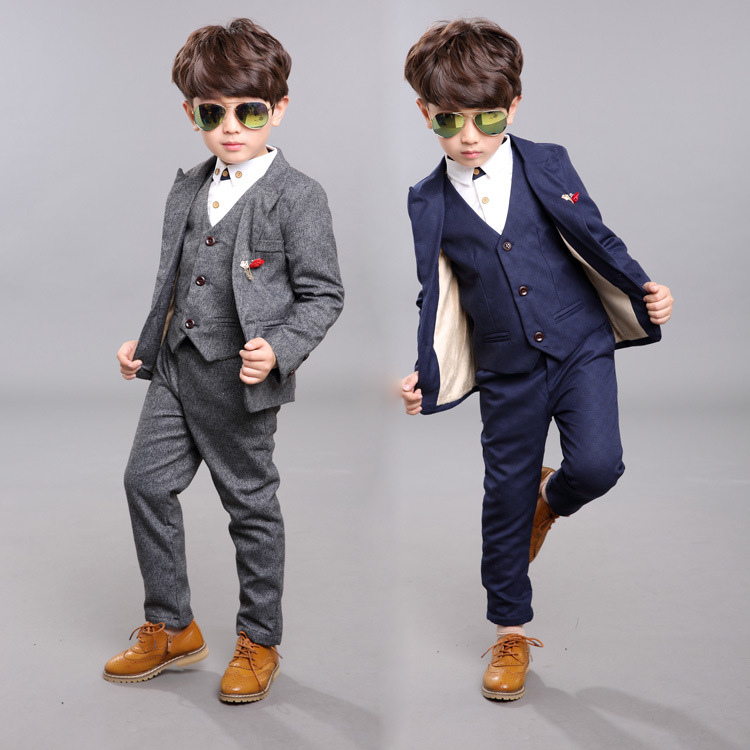 Drop Shipping Wholesale Autumn2015 Costume Garcon Mariage Boys Velvet Casual Suit Cotton