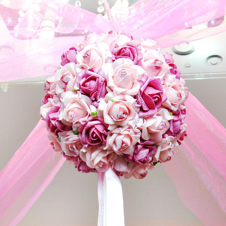 17cm 30cm Roses Balls Roses Kiss Ball Decorate Bouquet yarn garland yarn set divisa wedding supplies hangings wedding decoration(China (Mainland))