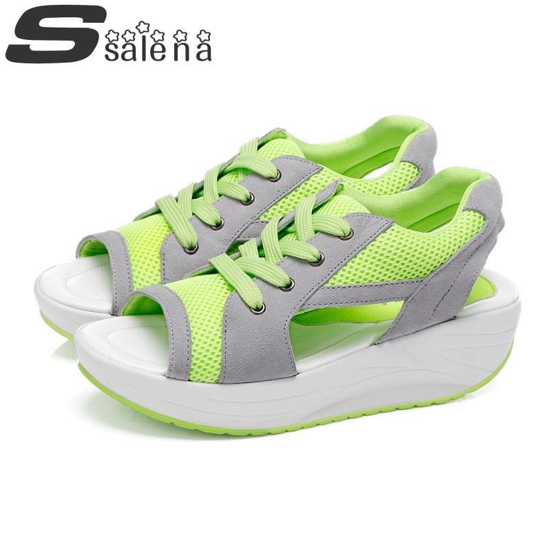 Promotion! Women's  Leisure Platform Sandals New 2014 Fashion Cutout Thick High Heels Summer Rome Sandalias Sapatos Shoes A304