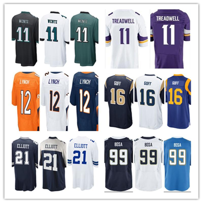 2016 New Draft MEN'S Carson Wentz Ezekiel Elliott Jared Goff Jersey White Navy Blue Stitched Elite Jersey Free Shipping(China (Mainland))