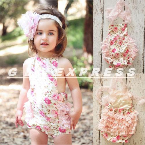 2014 Dropshipping Baby Kids Girls Toddlers Lace Flower Romper Sunsuit Outfits Clothing One-Pieces(China (Mainland))
