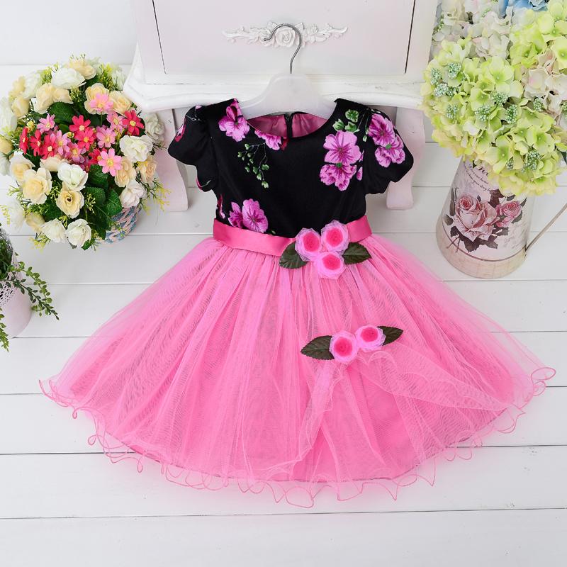 Wholesale  girls dress short sleeve with flower party dress evening dress  6pcs/1ot   L15136